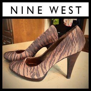 """Nine West """"Nadia"""" animal print heels sz7.5"""